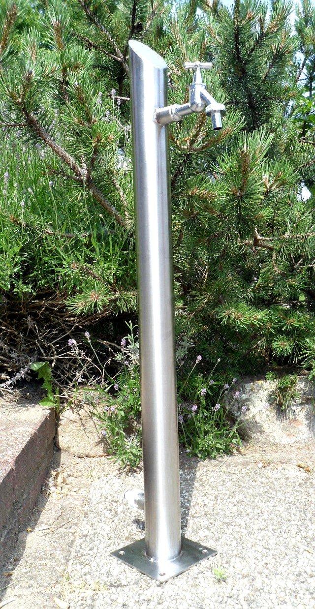 Wassersäule Rund / Aus hochwertigem Edelstahl / Wasserdicht verschweißt / Komplett befüllbar / Ohne Schläuche / Gardena-Kupplung / Zapfsäule rund Bewässerung Gartenschlauch Spender