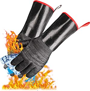 Grill BBQ Gloves, Heat Resistant BBQ Oven Gloves Cooking Barbecue Gloves for Turkey Fryer, Barbecue, Baking, Oven, Oil Resistant Cooking Gloves, Fireproof Waterproof Grilling Gloves (14 inch)