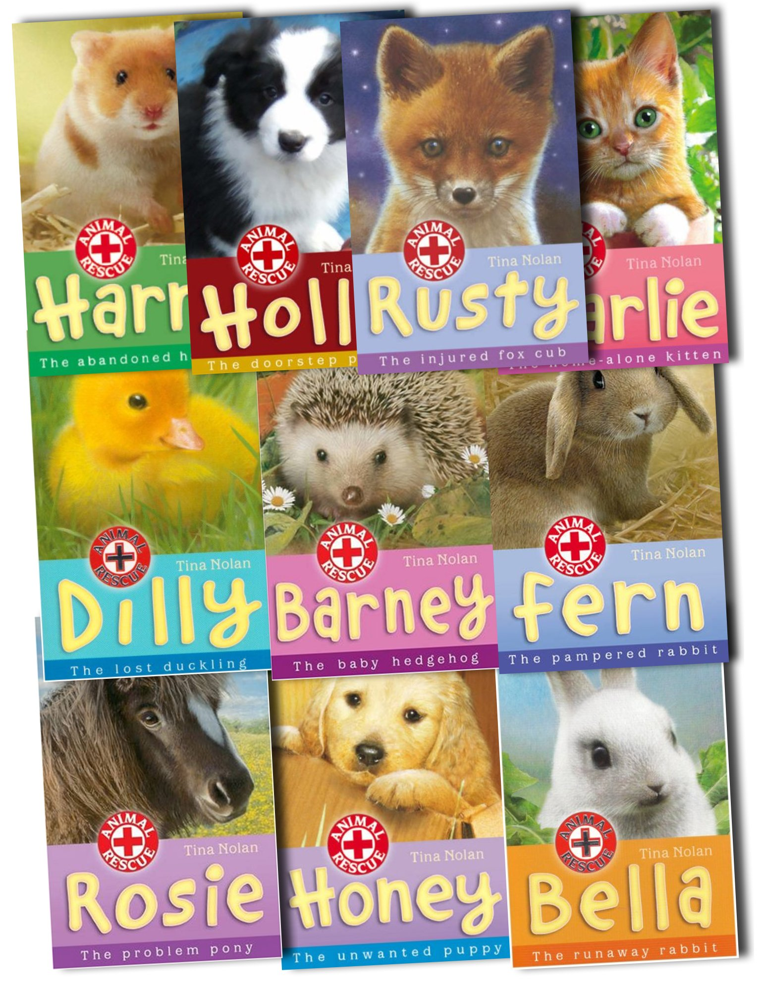 Tina Nolan Animal Rescue 10 Books Collection Pack Set RRP: £49.99 Rusty: The Injured Fox Cub, Holly, Charlie: The Home-alone Kitten, Dilly: The Lost Duckling, Honey: The Unwanted Puppy, Fern: The Pampered