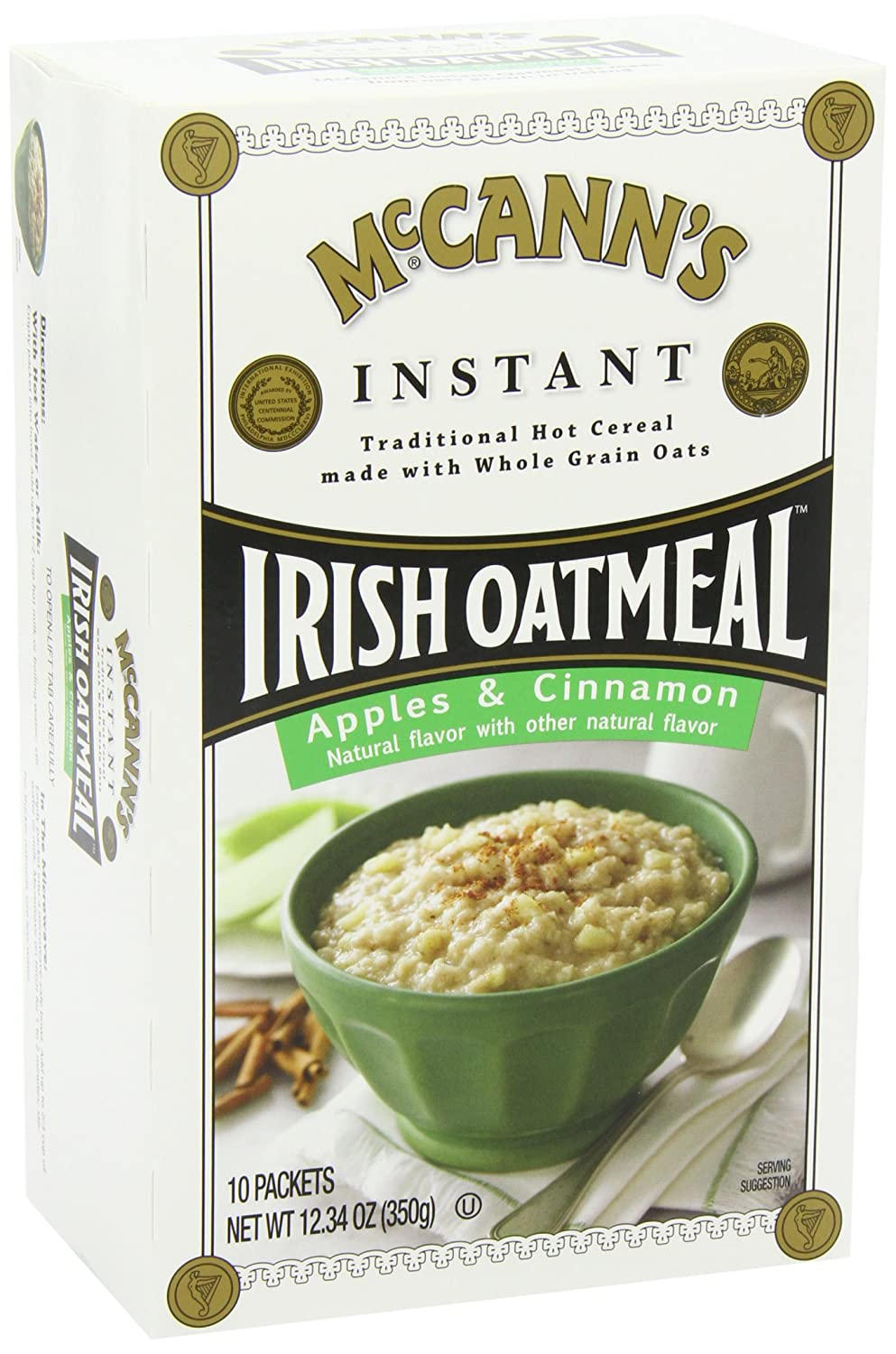 McCANNS Instant Irish Oatmeal, Apple & Cinnamon, 12.3-Ounce ...