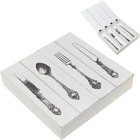 MyGift Vintage y Color blanco de madera tenedor, cuchara, cuchillo cubiertos compartimentos de almacenamiento organizador de cubiertos caja/caja de regalo: Amazon.es: Hogar