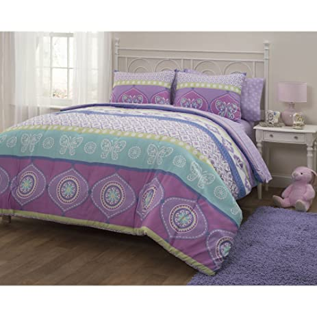 7 Piece Girls Multi Color Boho Butterfly Comforter Set Full With Sheets, Lavender  Turquoise Pink