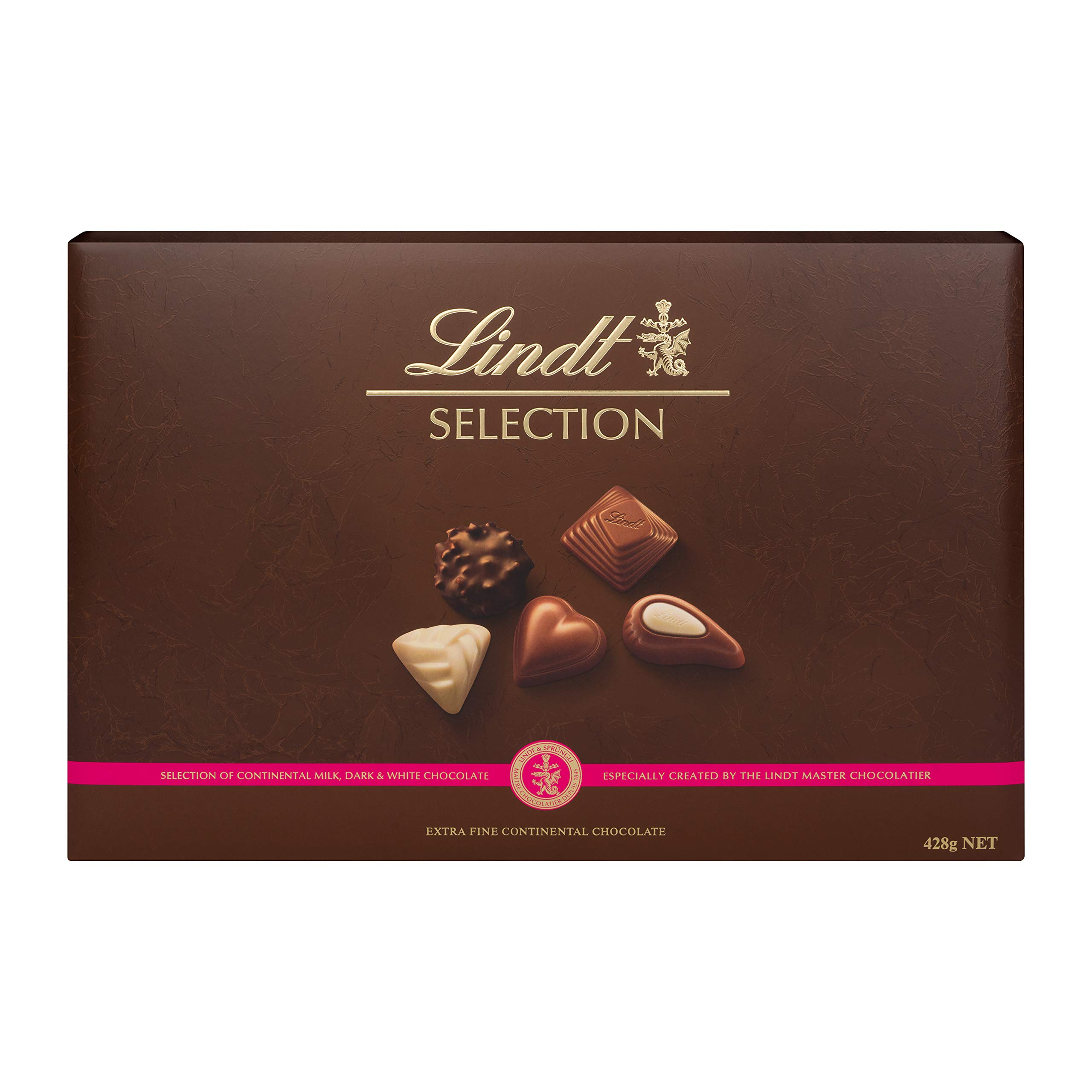 Lindt Selection Chocolate Box - 40 Pralines, 428 g - The Perfect Gift of Milk, White and Dark Chocolate