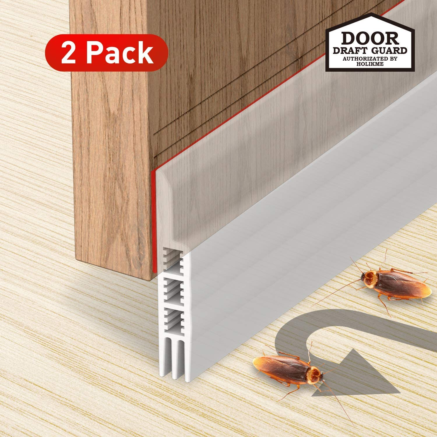 Holikme Door Draft Stopper 2 Pack Transparent 39-inch Under Door Draft Blocker Insulator Door Sweep Weather Stripping