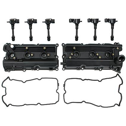 d2965e1a061 Amazon.com  Left   Right Engine Valve Cover w  Gasket   Ignition Coil Set  For Nissan 350Z Infiniti FX35 G35 M35 3.5L DOHC  Automotive