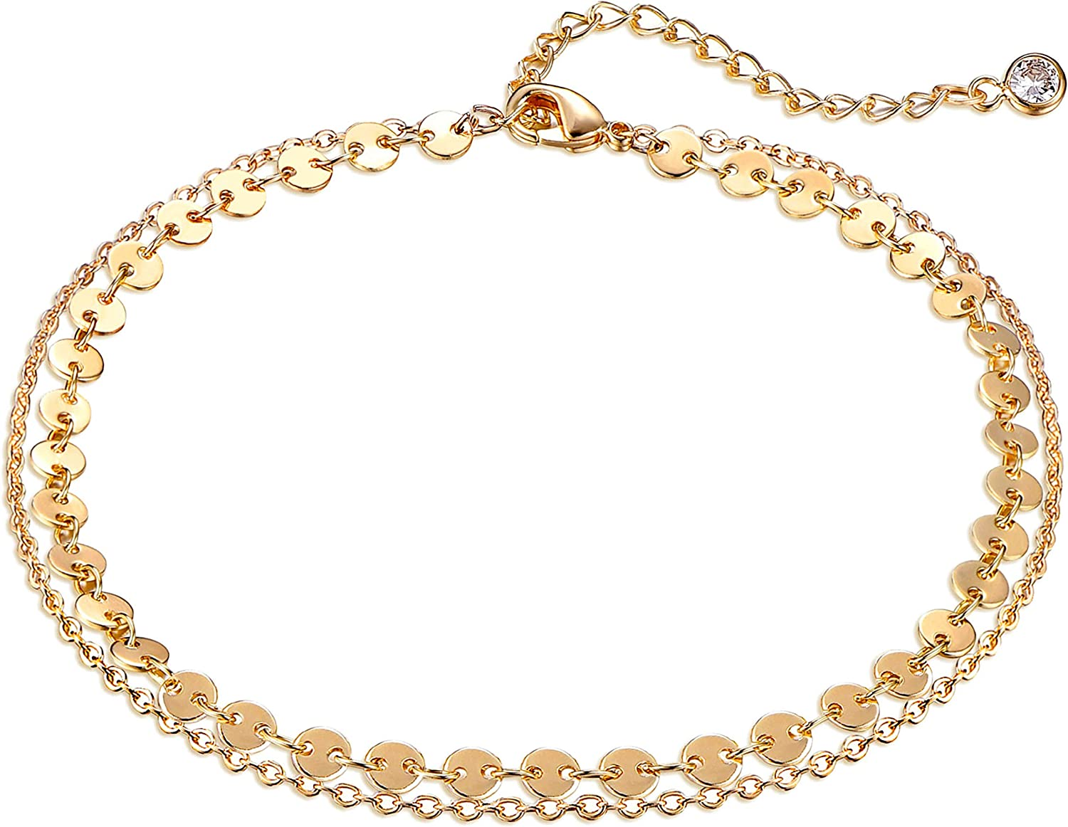 Dremmy Studios Simple Gold Chain Anklet,14k Gold/Silver Plated Dainty Summer Beach Anklets for Women