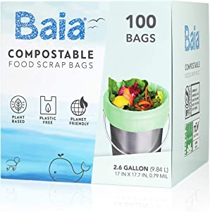 Baia Compostable Food Scrap Bags, ASTM D6400 BPI, 2.6 - 3 Gallon, Extra Thick 0.79 Mils, Small, Kitchen Waste Trash , Countertop Compost Bin Liners, 100 Count