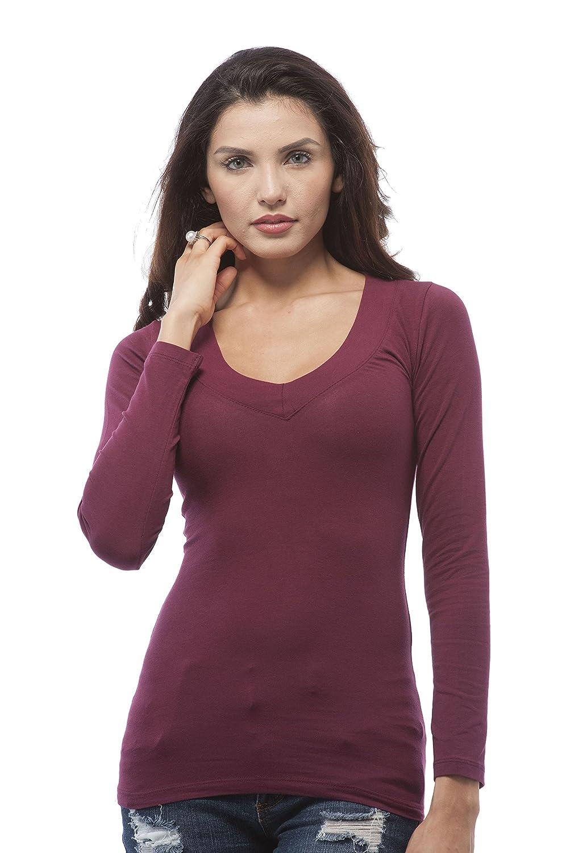 Khanomakの女性の基本的な長袖深いVネックプラスサイズシャツトップ B01N9W9W8K XL|バーガンディー