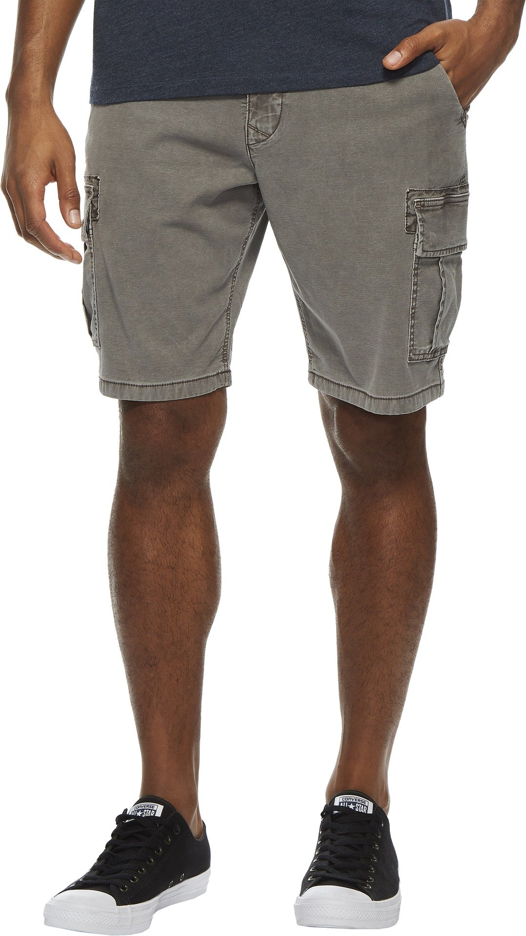 Lucky Brand Men's Stretch Sateen Cargo Shorts Charcoal Grey 34W x One SizeL