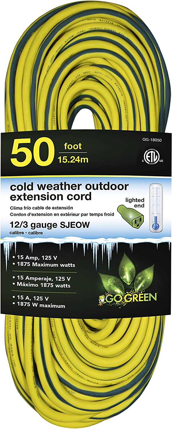 Perfpower Go Green Power GG-18050 12//3 SJEOW Cold Weather Extension Cord Yellow 500-Feet