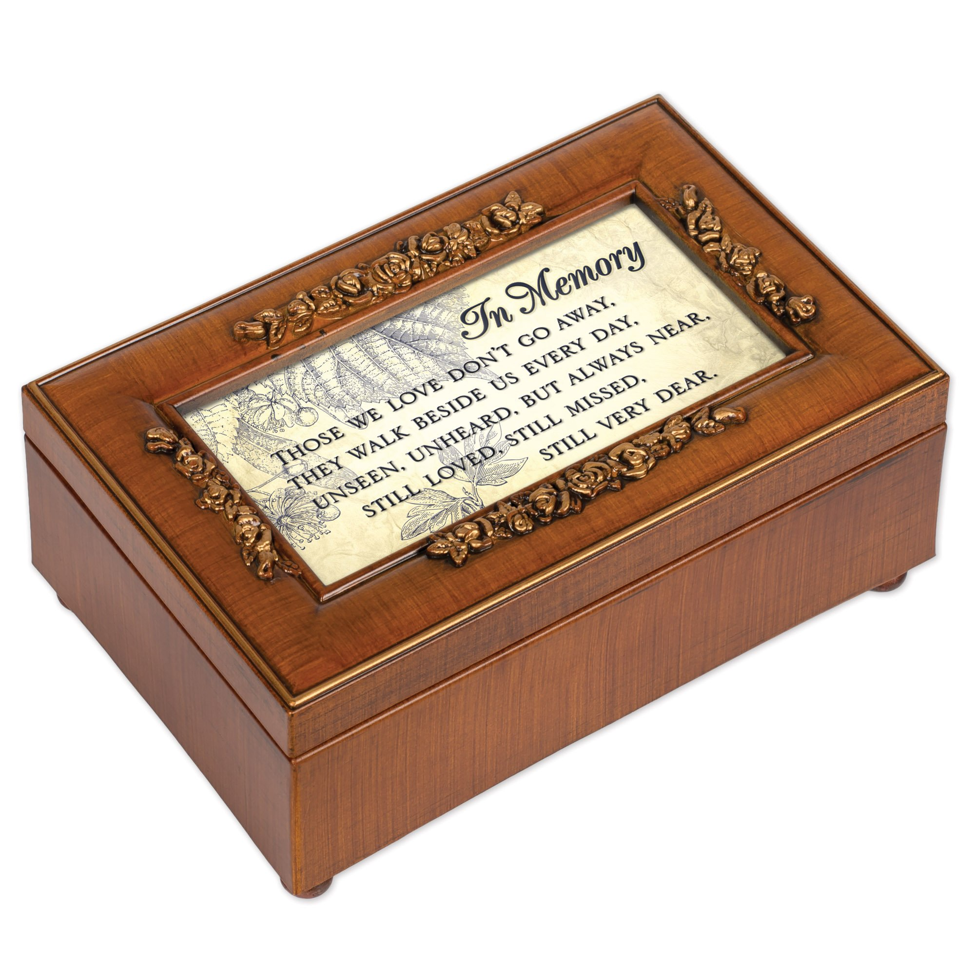 Cottage Garden in Memory Bereavement Rich Walnut Finish Petite Jewelry Music Box - Plays Wind Beneath My Wings by Cottage Garden