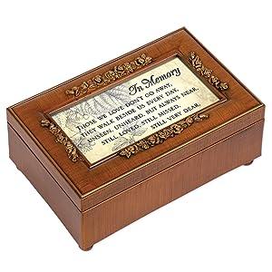 Cottage Garden in Memory Bereavement Rich Walnut Finish Petite Jewelry Music Box - Plays Wind Beneath My Wings