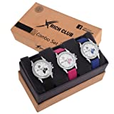 Rich Club Analogue White Dial Women's & Girl's Combo Of 3 Watch - Lui-Pnk~Blu~Blk