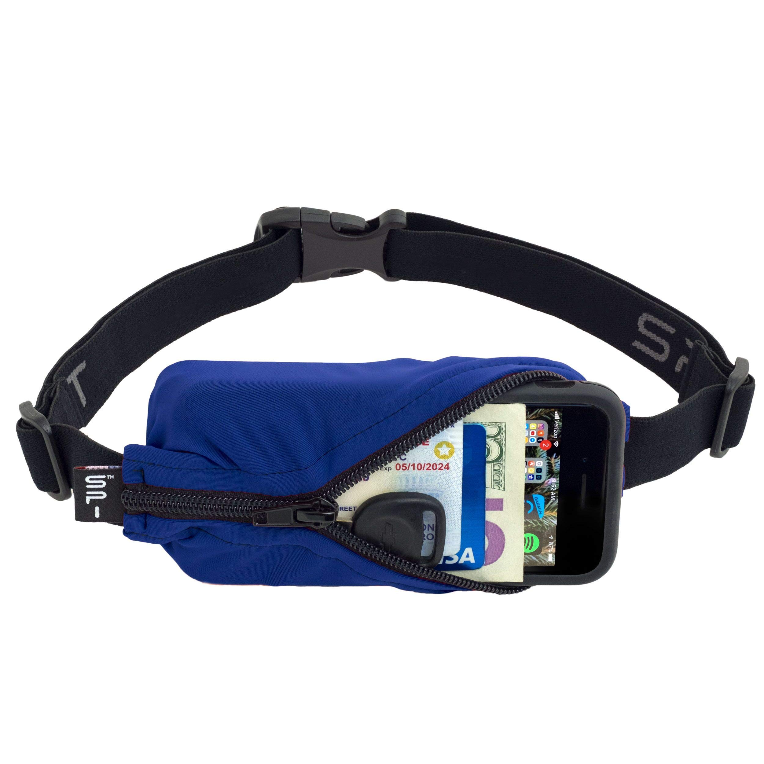 SPIbelt Sports/Running Belt: Original - No-Bounce Running Belt for Runners, Athletes and Adventurers - Fits iPhone 6 and Other Large Phones, Blue with Black Zip by SPIbelt