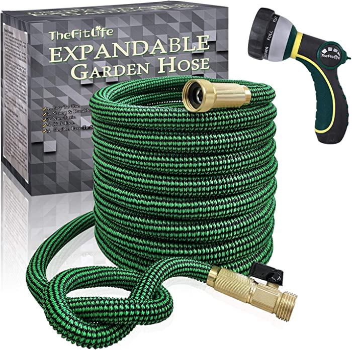 TheFitLife Expandable and Felxible Garden Hose - 2020 Upgrade Model 13-Layer Latex Inner and Solid Brass Fittings 3 Times Expanding Kink Free Easy Storage Collapsible Water Hose with Nozzle (50 FT)