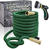 TheFitLife Expandable and Felxible Garden Hose - 2020 Upgrade Model 13-Layer Latex Inner and Solid Brass Fittings 3 Times Expanding Kink Free Easy Storage Collapsible Water Hose with Nozzle (25 FT)