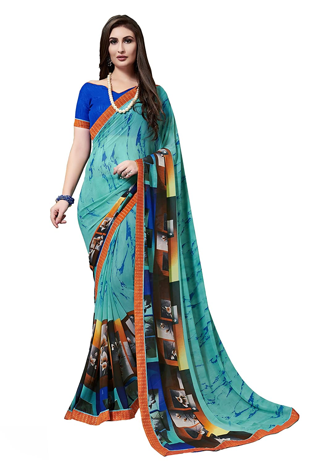 Gaurangi Creation Women's Georgette Printed Saree (DPN1007 Rama Blue)