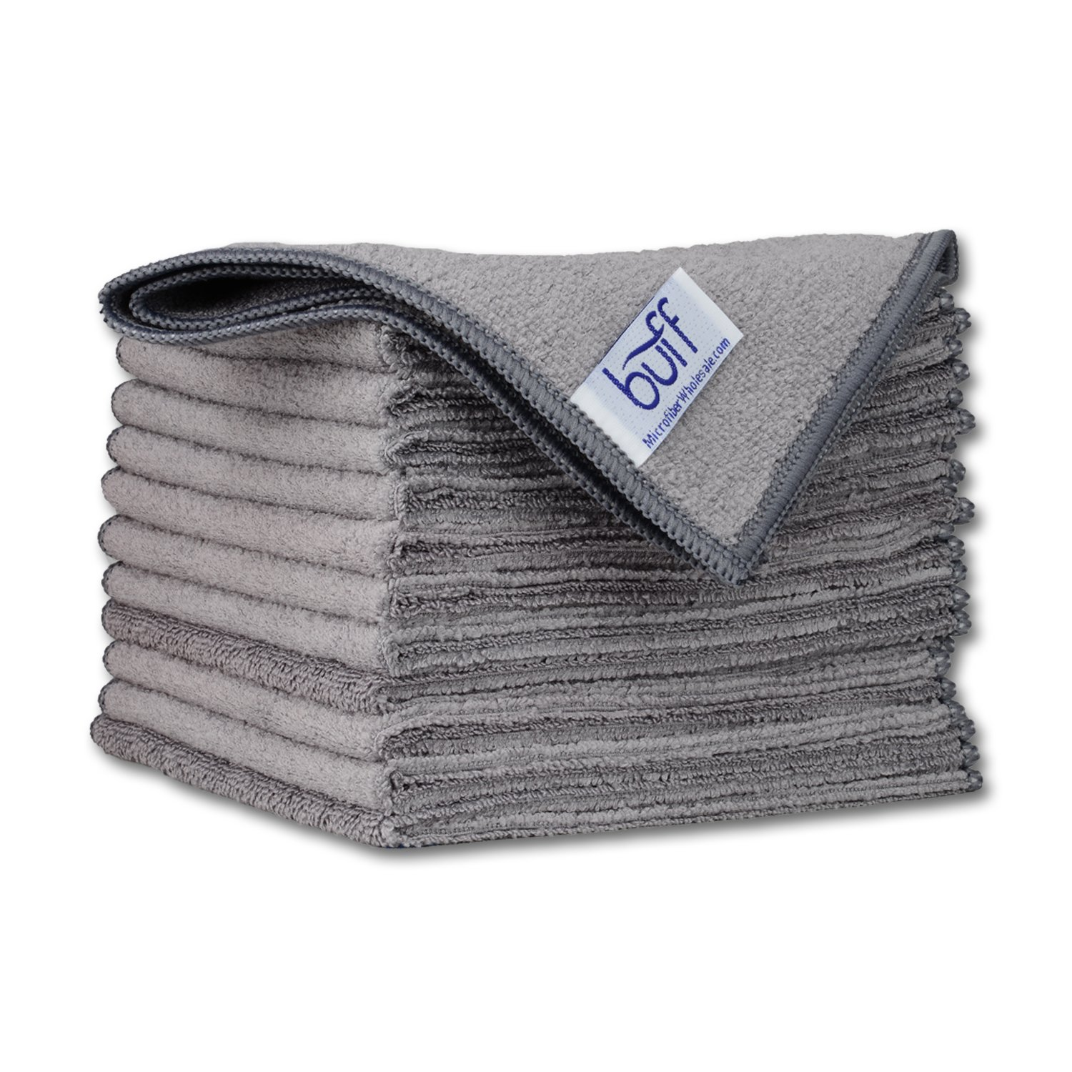 12 x 12 Buff Pro Multi-Surface Microfiber Towels | Gray Micro Cleaning Cloths - 12 Pack | Premium Microfibers For Cleaning Glass, Kitchens, Bathrooms, Automotive Microfiber Wholesale