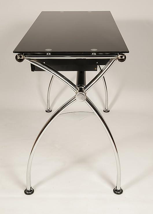 Moderno Escritorio Sussex 39 V Cromo + Glass diseño Oficina Mesa ...