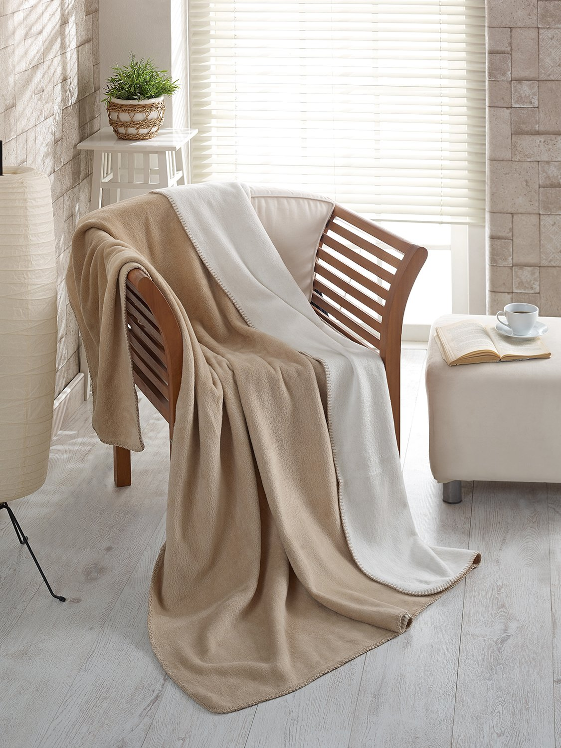 Ottomanson Bed Blankets, Bedspread, Plush Cotton Throw, Soft Cotton Cozy Fleece Blanket, 50'' L x 65'' W, Beige and Ivory Reversible