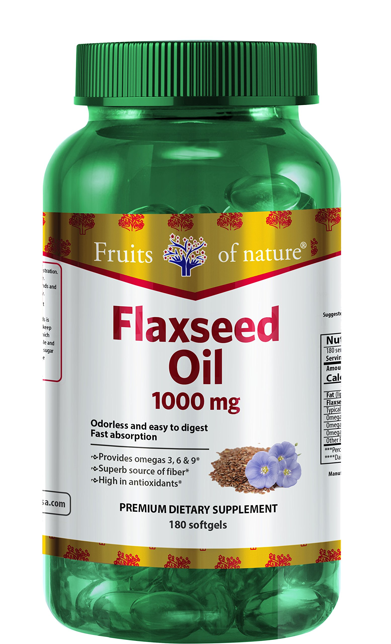 Flaxseed Oil Capsules 1000 mg - Organic, Extra Virgin, and Cold Pressed Quick Release softgels, Omega 3+6+9 - Premium Dietary Supplement - by Fruits of Nature.