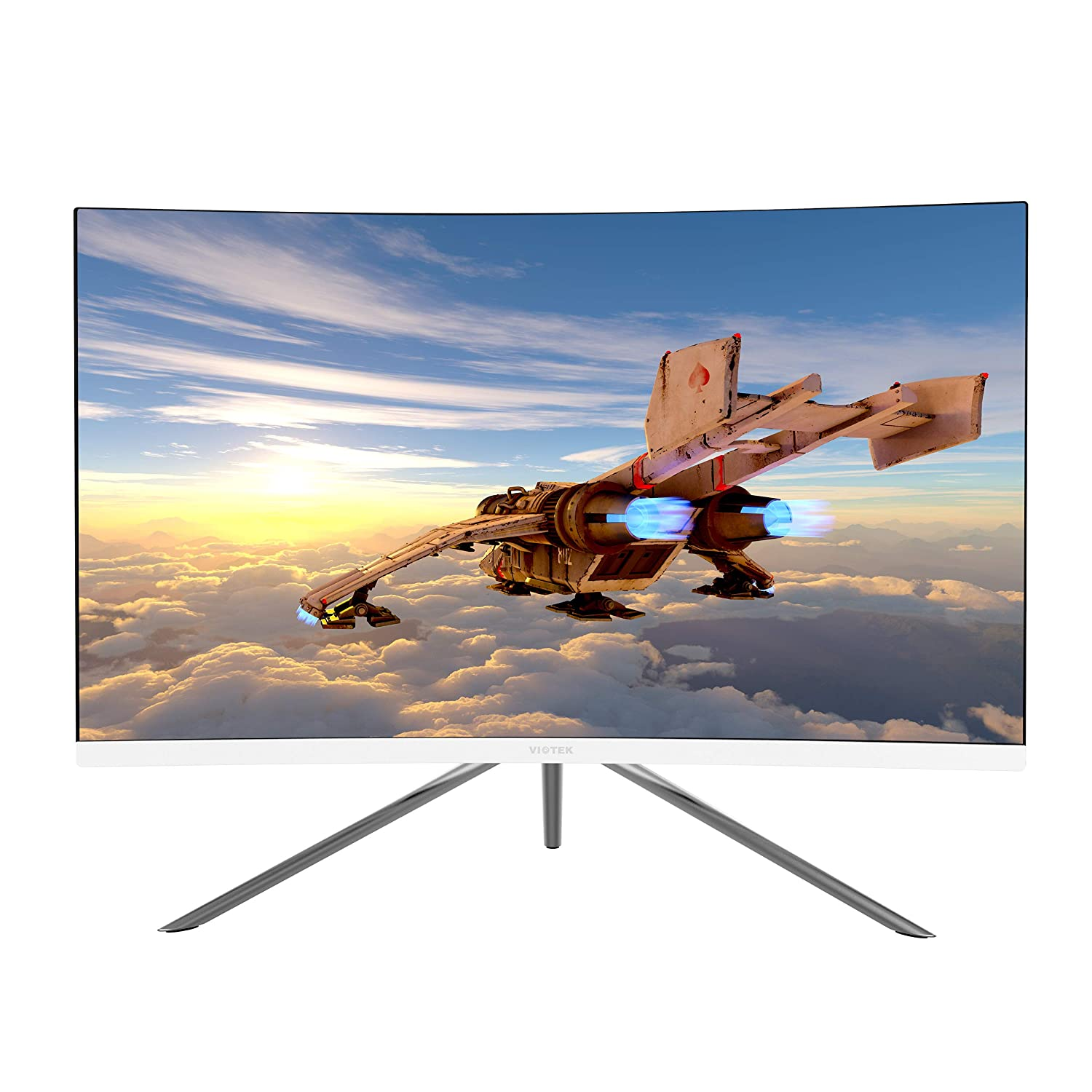 VIOTEK GN24C 24 Curved Monitor, Bezel-less Frame w/ Built-in Speakers-Full HD 1080p Monitor with 144Hz Refresh Rate, HDMI, DP, VESA GN24CB