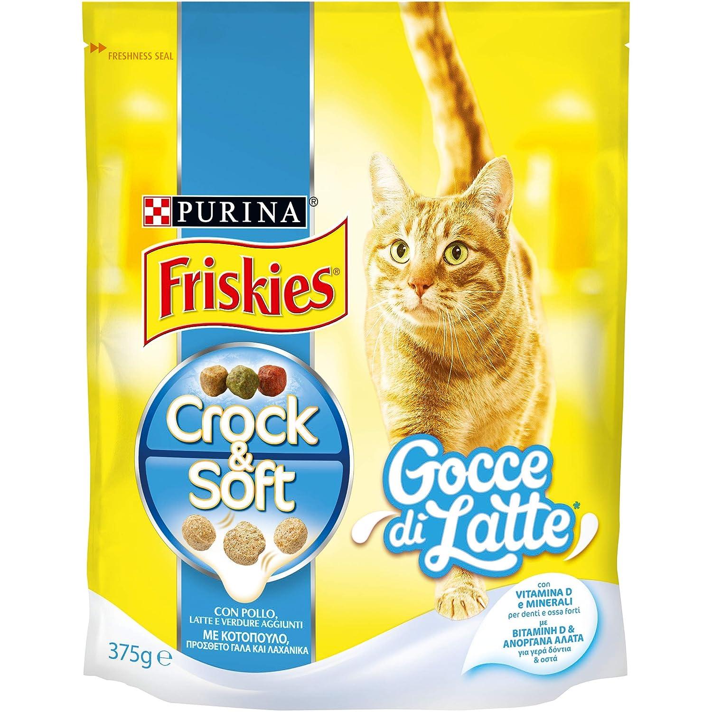 Friskies Crock y Soft Gotas de Leche pienso para el Gato, con Pollo, Leche y Verduras aggiunte, 375 g - Paquete de 12 Unidades: Amazon.es: Productos para ...