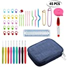 45PCS Crochet Hooks Set Neoteck Knitting Needle Kit With 9PCS 2mm to 6mm Anti-Slip Handles Hooks and Extra Scissors, Long Gauge Measure Ruler, Retractable Measuring Tape and Bag Perfect Gift for Women, Mon and Friends