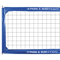 Park & Sun Sports Regulation Size Indoor/Outdoor Professional Volleyball Net with Steel Cable Top and Bottom, Blue