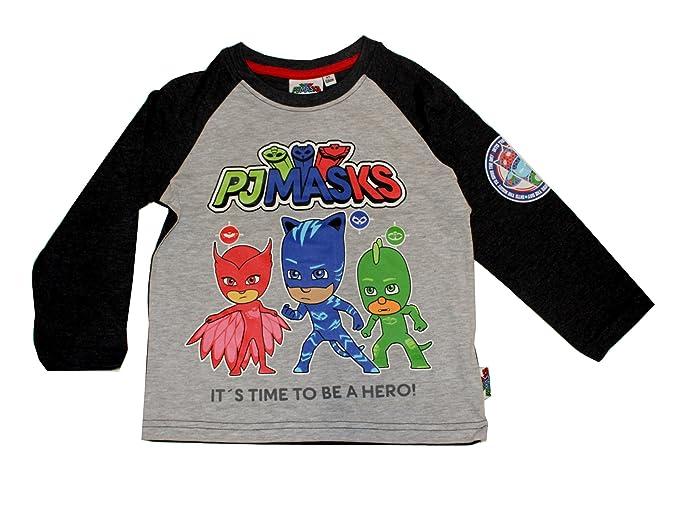PJ Masks - Camiseta de manga larga - Cuello redondo - para niño Dunkelgrau-Meliert