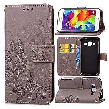 pinlu Funda para Samsung Galaxy Core Prime (G3608) Función de Plegado Flip Wallet Case Cover Carcasa Piel PU Billetera Soporte con Trébol de la Suerte ...