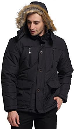 Amazon.com: fashciaga Men's Winter Hooded Faux Fur Lined Coat ...