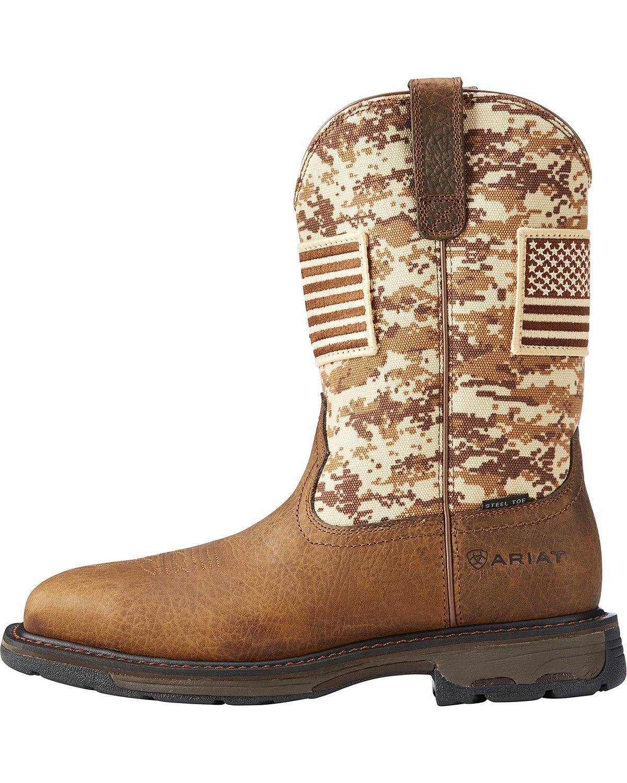 Ariat Men's Workhog Patriot Western Boot Steel Toe Brown 7 D by Ariat (Image #2)