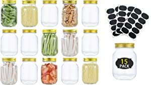 Glass Mason jars 16 oz 15 Pack – Pint Glass Jars For Food Storage With Gold Metal Lids, Ideal For Jam, Honey, Wedding Favors, Shower Favors, Baby Foods, Set Of 15 With 20 Labels