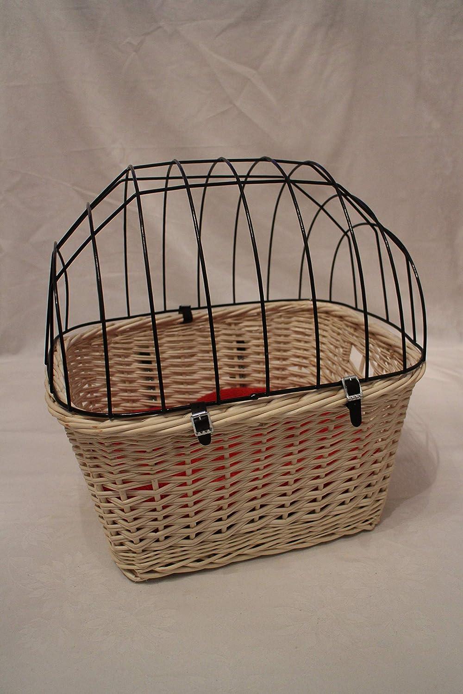 L ohne Kissen Marcus´ Weidenhandel Bello – Hundefahrradkorb for Fahrad Handlebar with Metal Bars and Pads L Xl Xxl Steering Wheel Dog Basket Animal Basket Willow Basket, White