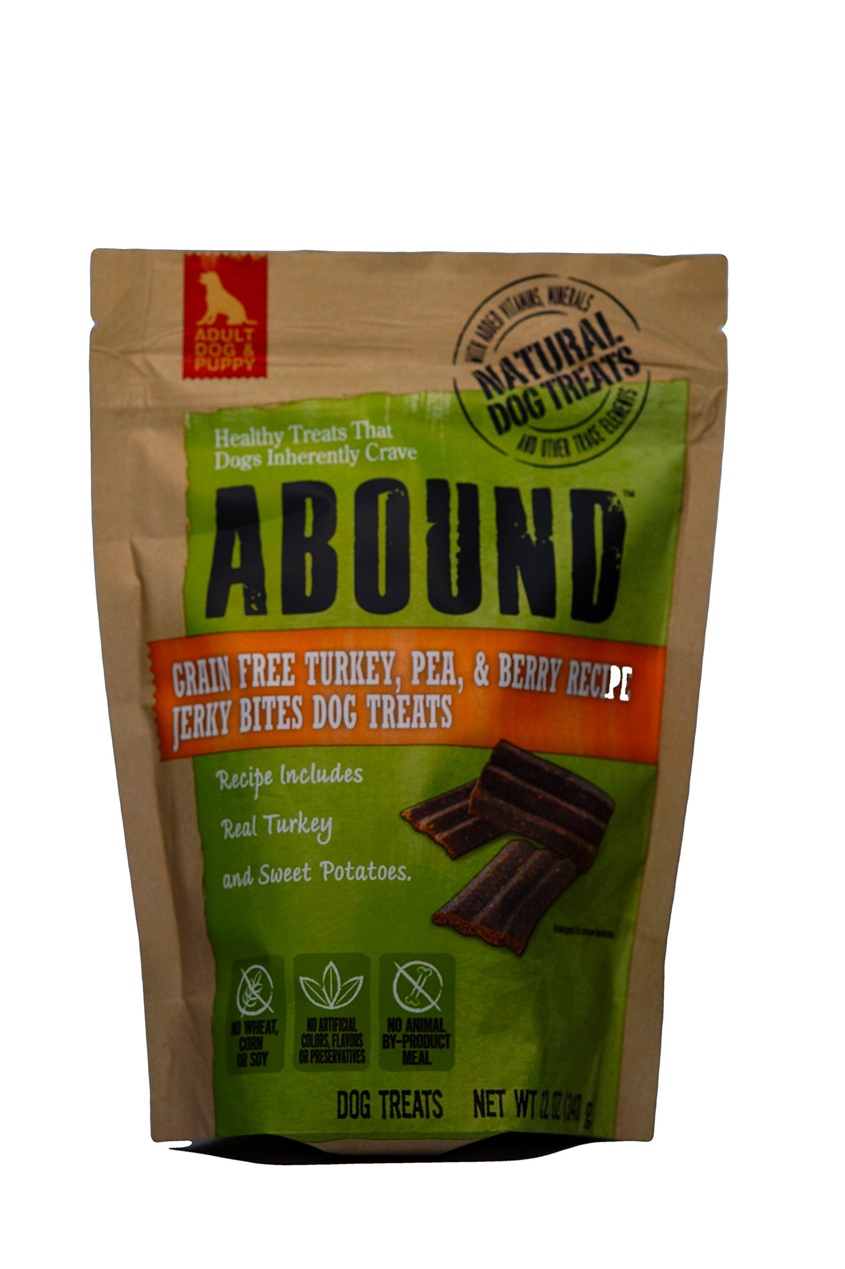 Abound Grain Free Turkey, Pea, & Berry Jerky Bite Dog Treats,12 oz