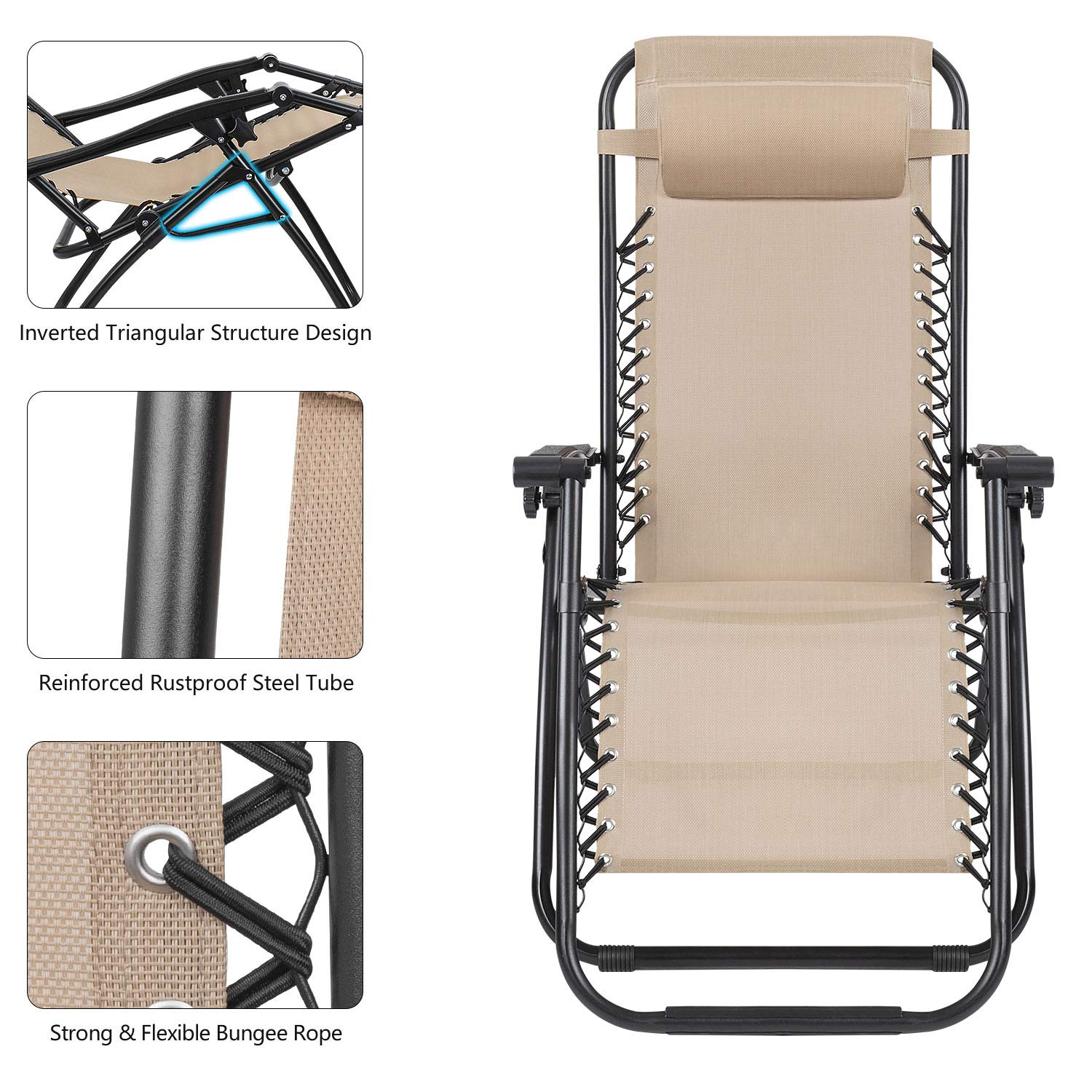 Devoko Patio Zero Gravity Chair Outdoor Folding Adjustable Reclining Chairs Pool Side Using Lawn Lounge Chair with Pillow Set of 2 (Beige) by Devoko (Image #4)