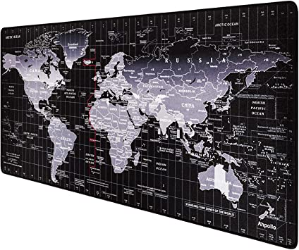 Anpollo Alfombrilla de ratón para Juegos 900 x 400 Alfombrilla de ratón con Mapa del Mundo, Base de Goma Antideslizante, Adecuada para Jugadores, PC y ...
