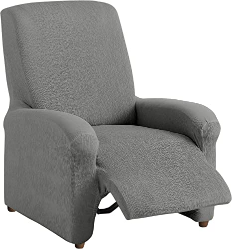 Textilhome Housse Fauteuil Relax Complète TEIDE Elastique, Taille 1 Places 70 a 100 cm. Couleur Grey