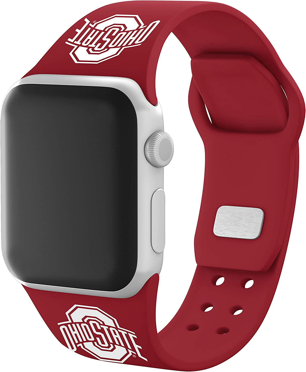 AFFINITY BANDS Ohio State Buckeyes Silicone Sport Watch Band Compatible with Apple Watch (42mm/44mm - Crimson Red)