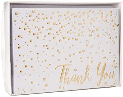 Amazon Com Thank You Cards Confetti 20 Pack Of 5x7 Gold Foil