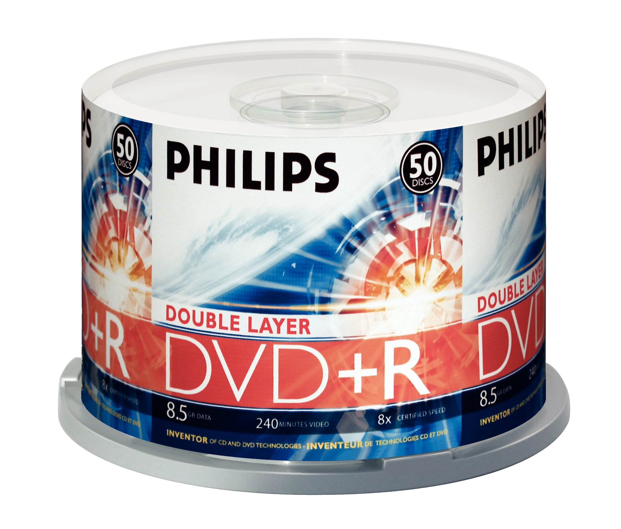 Philips DR8S8B50F/17 50 Pack 8X DVD+R DL Spindle