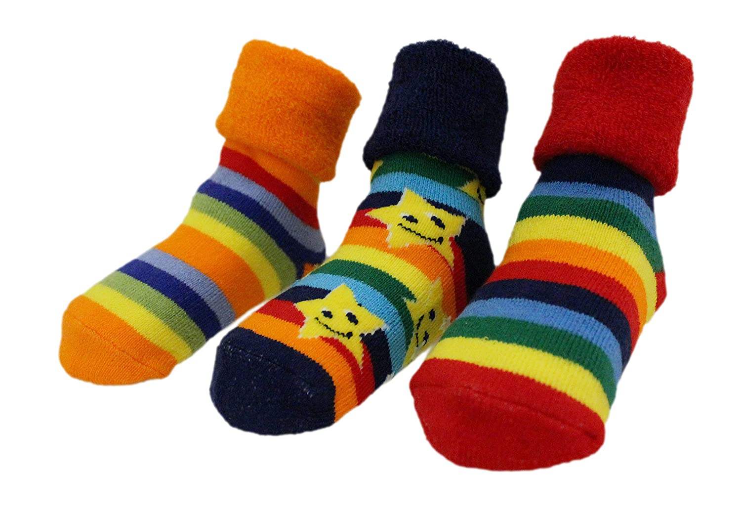 Baby Boys Girls Winter Thick Rainbow Stars Anti-slip Socks Pack of 3