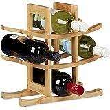 Relaxdays Bamboo Wine Rack, Bottle Holder For 9 Standard Bottles, Original Design, Free-Standing, Size: ca 30 x 14.5 cm, Natural, Natural Brown