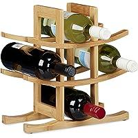 Relaxdays 10020245 Cantinetta per Vino 9 Bottiglie, Legno, Marrone, 14.5x30x30 cm