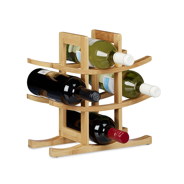 Relaxdays Botellero de Diseño Original para 9 Botellas, Bambú, Madera Natural, 30 x 30 x 14,5 cm 10020245
