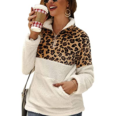 Angashion Womens Long Sleeve Half Zip Up Warm Fuzzy Leopard Print Patchwork Fleece Pullover Tops with Pocket for Winter at Women's Coats Shop