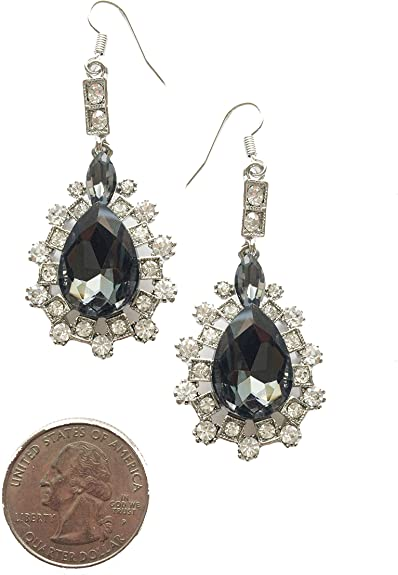 Silver Crystal Drop Earrings Art Deco 1920s Long Drop Party Bride sparkle