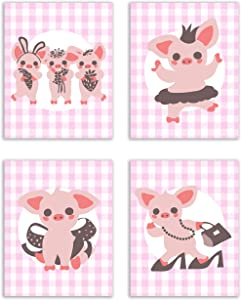 Adorable Country Style Pig Prints - Set of 4 (8x10 Inches) Glossy Wall Art Decor Girls Bedroom Nursery