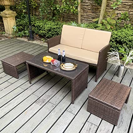 Terrific Oc Orange Casual Outdoor 4 Pieces Brown Rattan Wicker Loveseat Sofa Furniture Set With Ottoman Glass Coffee Table With Beige Seat Cushion Garden Unemploymentrelief Wooden Chair Designs For Living Room Unemploymentrelieforg